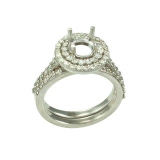 14K Double Halo Round Style White Gold .Diamond  Wedding Set With 90 CT TW Round Brilliant Diamonds