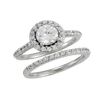 14k White Gold 1 1/5ct TDW Diamond Round Halo Style Wedding Set