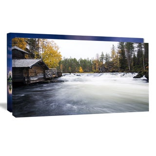 Flowing River and Aged Watermill - Landscape Photo Canvas Print