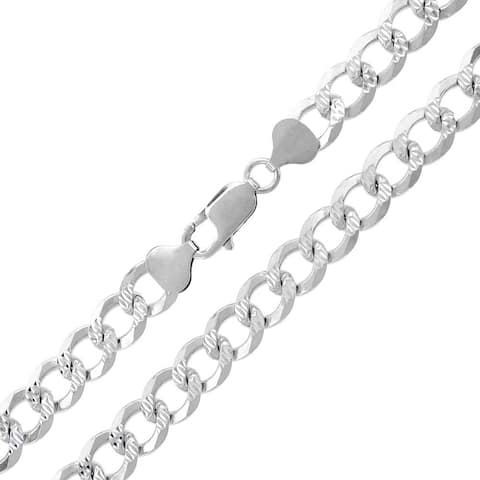 """Authentic Solid Sterling Silver 8.5mm Cuban Curb Link Diamond-Cut Pave .925 ITProLux Necklace Chains 20"""" - 30"""", Made In Italy"""