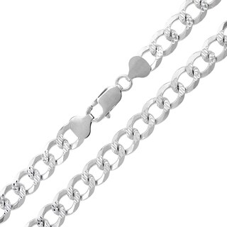 .925 Sterling Silver 8.5-millimeter Solid Cuban Curb-link Diamond-cut ITProLux Necklace Chain