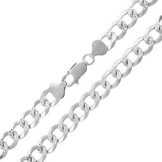 "Sterling Silver Italian 8.5mm Cuban Curb Link Diamond-Cut ITProLux Solid 925 Necklace Chain 20"" - 30"""