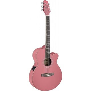 Stagg SA40MJCFI-PK Pink Mini Jumbo Cutaway Acoustic-electric Concert Guitar (Option: Pink)