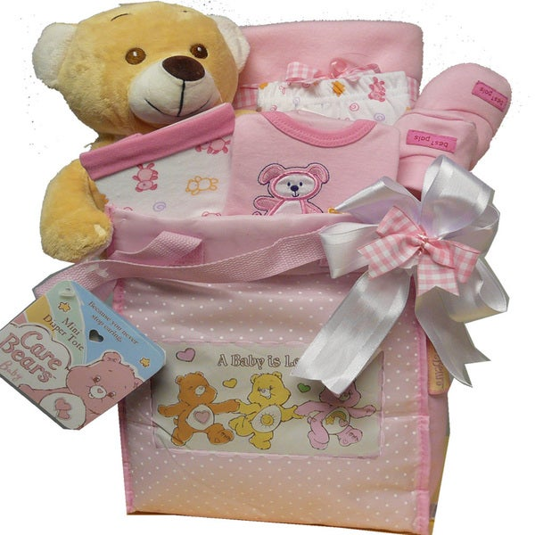 Sweet Baby Diaper Bag Gift Basket with Teddy Bear