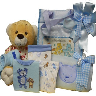 Sweet Baby Diaper Bag Gift Basket with Teddy Bear (Option: Blue)