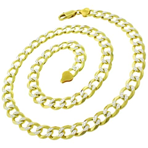 Authentic 14K Gold Italian Solid Sterling Silver 8.5mm Cuban Curb Diamond-Cut Link .925 ITProLux Two-Tone Yellow Necklace Chains