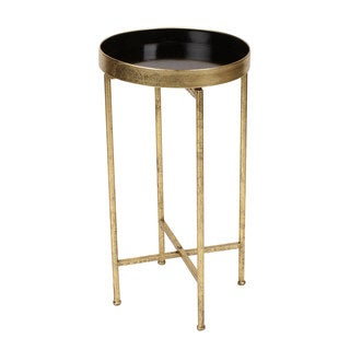 Kate and Laurel Deliah Two-tone Metal 15.75-inch Round Foldable Tray Accent Table