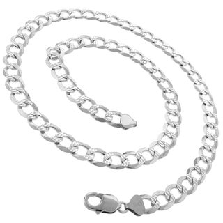 "Authentic Solid Sterling Silver 10.5mm Cuban Curb Link Diamond-Cut Pave .925 ITProLux Necklace Chains 24"" - 30"", Made In Italy"