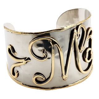 Handmade Wide Textured Stainless Steel Brass Script Initial Cuff Bracelet (India)