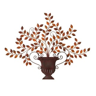Urn and Leaf Hand-Painted Metal Wall Accent Art