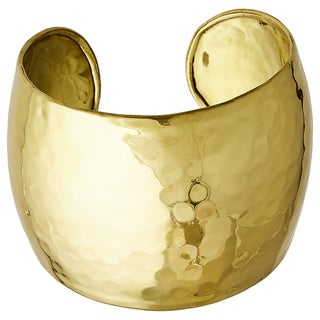 Handcrafted Artisan-made Hammered Brass Wide Cuff Bracelet (India)