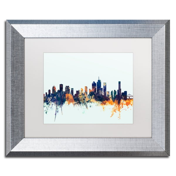 Michael Tompsett 'Brisbane Skyline Blue' Matted Framed Art