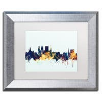 Michael Tompsett 'York England Skyline Blue' Matted Framed Art