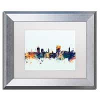 Michael Tompsett 'Cardiff Wales Skyline Blue' Matted Framed Art