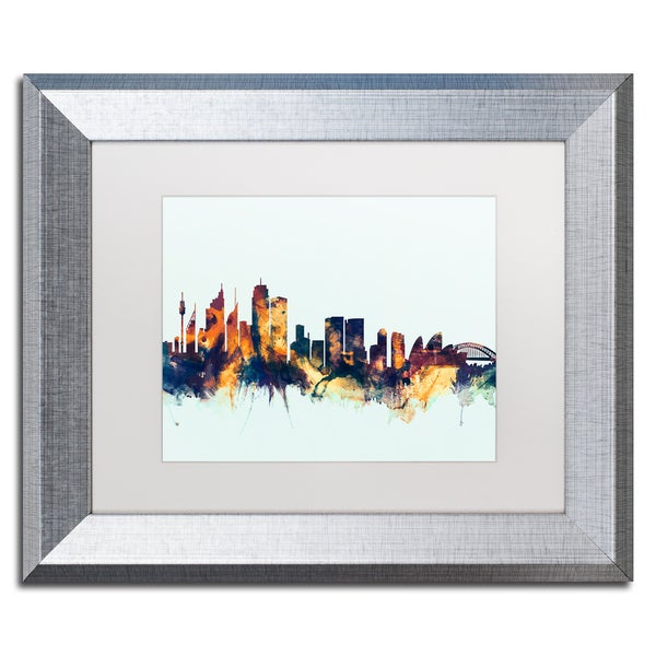 Michael Tompsett \'Sydney Australia Skyline Blue\' Matted Framed Art ...