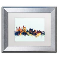 Michael Tompsett 'Sydney Australia Skyline Blue' Matted Framed Art