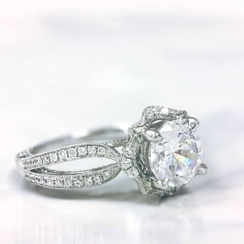 Lihara and Co. 18K White Gold 0.18ct TDW Semi-Mount Halo Diamond Engagement Ring - White G-H