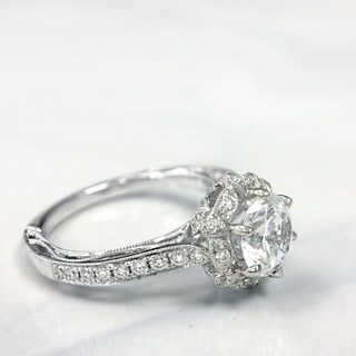 Lihara and Co. 18K White Gold 0.31ct TDW Semi-Mount Diamond Engagement Ring