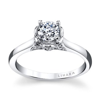 Lihara and Co. 18K White Gold 0.13ct TDW Semi-Mount Petal Diamond Engagement Ring (G-H, VS1-VS2)