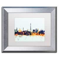 Michael Tompsett 'Paris France Skyline Blue' Matted Framed Art