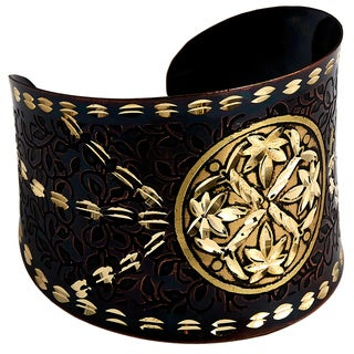 Handmade Artisan Embossed Diamond Cut Brass Leaves Cuff Bracelet (India)