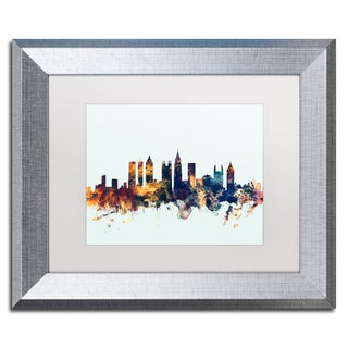 Michael Tompsett 'Atlanta Georgia Skyline Blue' Matted Framed Art