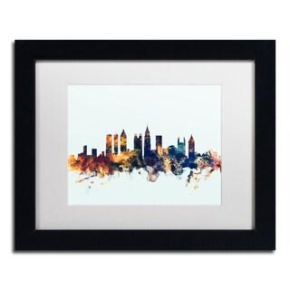 Michael Tompsett 'Atlanta Georgia Skyline Blue' Matted Framed Art