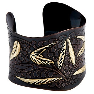Handmade Artisan Embossed Diamond Cut Brass Wheat Cuff Bracelet (India)