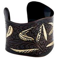 Handmade Artisan Embossed Diamond Cut Brass Wheat Cuff Bracelet (India)