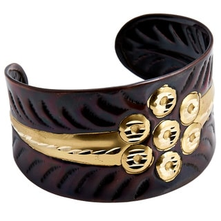 Handmade Artisan Embossed Diamond Cut Brass 7 Dots Cuff Bracelet (India)