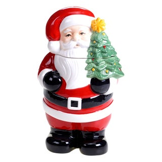 Certified International Retro Christmas 3D Santa 11.25-inch Cookie Jar