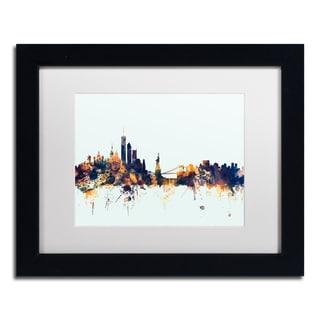 Michael Tompsett 'New York Skyline Blue' Matted Framed Art