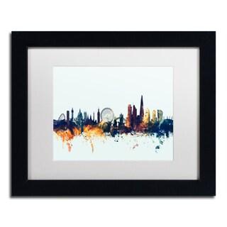 Michael Tompsett 'London England Skyline Blue' Matted Framed Art