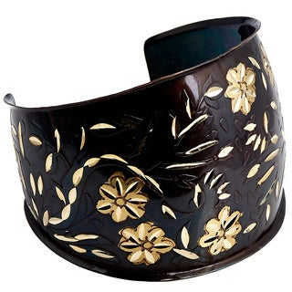 Handmade Artisan Embossed Diamond Cut Blossoms Cuff Bracelet (India)