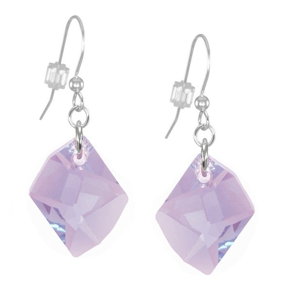 Handmade Jewelry by Dawn Large Violet Cosmic Swarovski Crystal Long or Short Sterling Silver Earrings (USA)