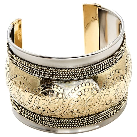 Handmade Artisan Rope Detailed Embossed Floral Cuff Bracelet (India)