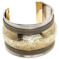 Handmade Artisan Rope Detailed Embossed Floral Cuff Bracelet (India)