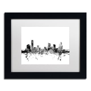 Michael Tompsett 'Grand Rapids MI Skyline B&W' Matted Framed Art