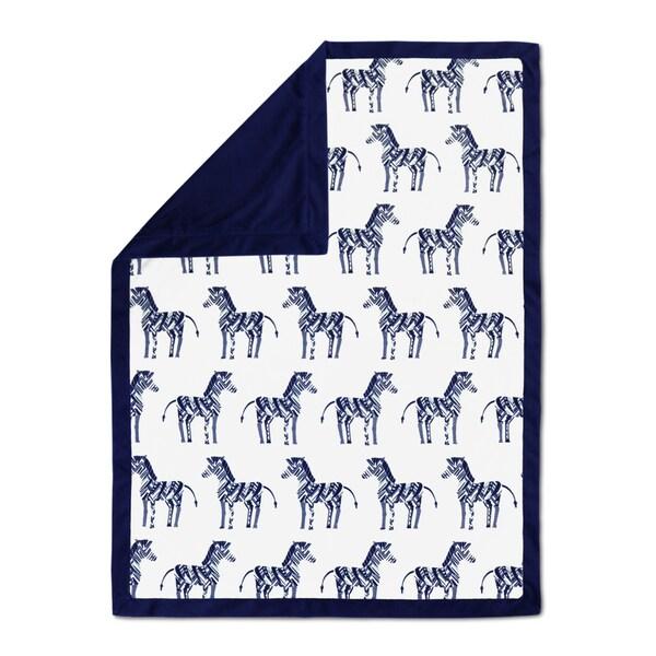 Farallon The Peanut Shell Indio Blue Polyester Velour Blanket