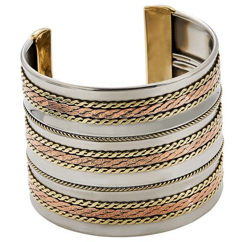Handmade Artisan Stainless Steel Triple Copper Braids Cuff Bracelet (India)