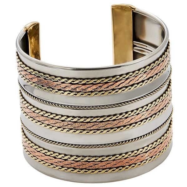 Handmade Artisan Stainless Steel Triple Copper Braids Cuff Bracelet (India). Opens flyout.