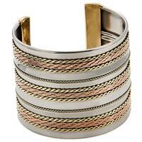 Handmade Artisan Stainless Steel Triple Copper Braids Cuff Bracelet (India)