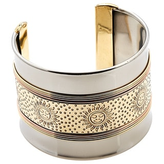 Handmade Artisan Stainless Steel Mixed Metal Brass Sunshine Cuff Bracelet (India)