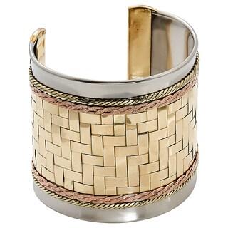 Handmade Artisan Woven Brass Stainless Steel Copper Woven Brass Cuff Bracelet (India)