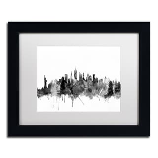 Michael Tompsett 'New York City Skyline B&W' Matted Framed Art