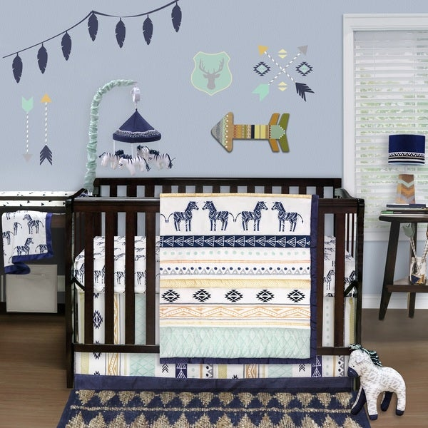 Farallon The Peanut Shell Indio Blue/Green Cotton 4-piece Crib Set. Opens flyout.