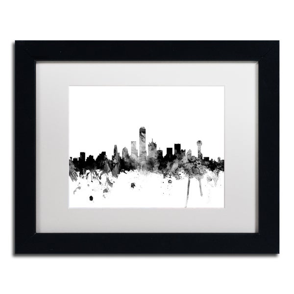 Michael Tompsett Dallas Texas Skyline B Amp W Matted Framed