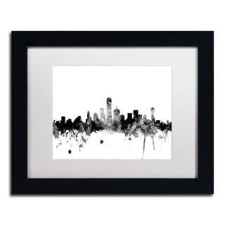 Michael Tompsett 'Dallas Texas Skyline B&W' Matted Framed Art