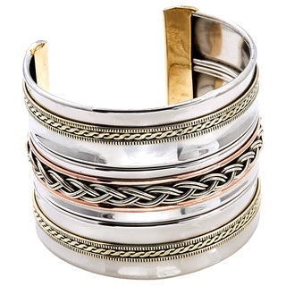 Handmade Artisan Stainless Steel Brass Braid Cuff Bracelet (India)