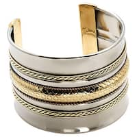 Handmade Artisan Stainless Steel Brass Textured Band Cuff Bracelet (India)